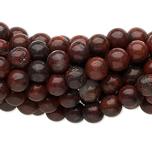 Bead, Brecciated Jasper (natural), 6mm Round, C Grade, Mohs Hardness 6-1/2 7. Sold Per Pkg (10) 16-inch Strands 1049PS