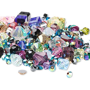 Bead Component Mix, Swarovski® Crystals, Mixed Colors, 3mm-15x6mm Mixed Shape. Sold Per 25-gram Pkg, Approximately 40-95 Pieces
