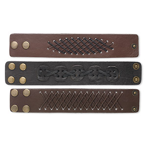 Bracelet Mix, Leather (dyed) / Waxed Cotton Cord / Brass-finished Steel, Brown Dark Brown, 38mm Wide, Adjustable 6 7 Inches Snap Closure. Sold Per Pkg 3 1058JU