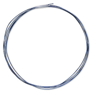 Wire, Anodized Niobium, Dark Blue, Half-hard, Round, 20 Gauge. Sold Pkg 5 Feet