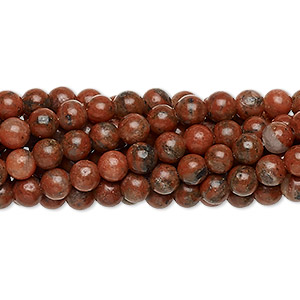 Bead, Red Sesame Jasper (natural), 4mm Round, C Grade, Mohs Hardness 6-1/2 7. Sold Per Pkg (10) 16-inch Strands 1081PS