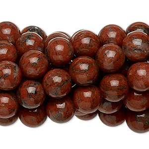 Bead, Red Sesame Jasper (natural), 8mm Round, C Grade, Mohs Hardness 6-1/2 7. Sold Per Pkg (10) 16-inch Strands 1083PS