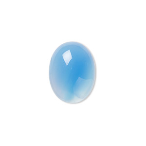Cabochon, Blue Agate (dyed), 16x12mm Calibrated Oval, B- Grade, Mohs Hardness 6-1/2 7. Sold Per Pkg 4