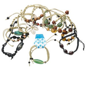 Bracelet mix, hemp / cotton / glass / acrylic / shell / wood / multi-gemstone, multicolored, adjustable from 7-10 inches. Sold per pkg of 12.