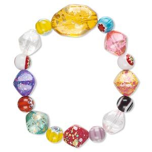 Bracelet, Stretch, Millefiori Glass Acrylic, Multicolored, 20mm Wide Round Nugget, 7 Inches. Sold Individually 1100JU