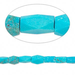 Bead, Resin, Matte Turquoise Blue, 7x3mm Faceted Rectangle. Sold Per 16-inch Strand