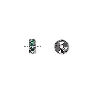 Bead, Glass Rhinestone Gunmetal-plated Brass, Emerald Green, 7x3mm Rondelle. Sold Per Pkg 10