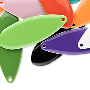 Focal Mix, Silver-plated Brass Epoxy, Mixed Colors, 36x13mm Double-sided Teardrop. Sold Per Pkg 120