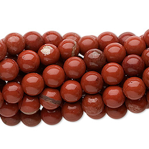 Bead, Red Jasper (natural), 6mm Round, C Grade, Mohs Hardness 6-1/2 7. Sold Per Pkg (10) 16-inch Strands 1115PS