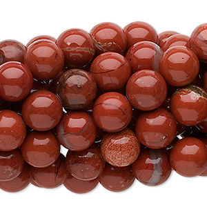 Bead, Red Jasper (natural), 8mm Round, C Grade, Mohs Hardness 6-1/2 7. Sold Per Pkg (10) 16-inch Strands 1116PS
