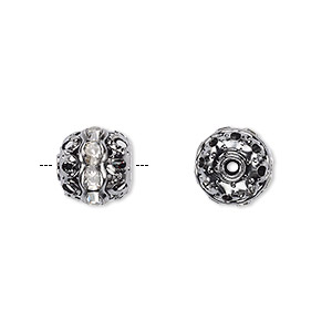 Bead, Glass Rhinestone Gunmetal-plated Brass, Clear, 10mm Round. Sold Per Pkg 10