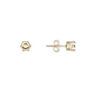 Earstud, Snap-Tite®, 14Kt Gold-filled, 5mm 6-prong Round Setting. Sold Per Pair G2412GP