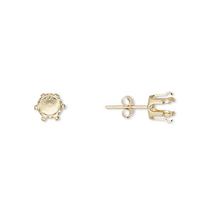 Earstud, Snap-Tite®, 14Kt Gold-filled, 6mm 6-prong Round Setting. Sold Per Pair G2393GP