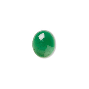 Cabochon, Green Agate (dyed), 12x10mm Calibrated Oval, B Grade, Mohs Hardness 6-1/2 7. Sold Per Pkg 4