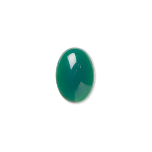 Cabochon, Green Agate (dyed), 14x10mm Calibrated Oval, B Grade, Mohs Hardness 6-1/2 7. Sold Per Pkg 4