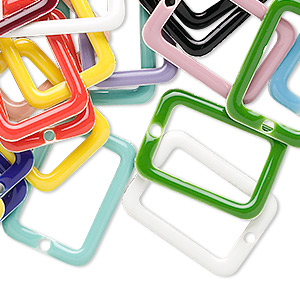 Drop Mix, Epoxy Silver-plated Brass, Mixed Colors, 20x14mm Double-sided Open Rectangle. Sold Per Pkg 120