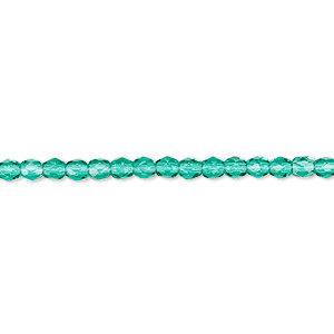 Bead, Czech Fire-polished Glass, Teal, 3mm Faceted Round. Sold Per 16-inch Strand, Approximately 130 Beads 152-19001-00-3mm-50720