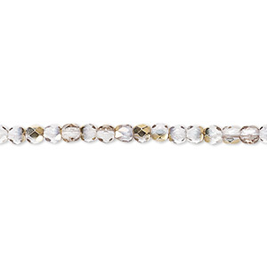 Bead, Czech Fire-polished Glass, Clear Metallic Gold, 3mm Faceted Round. Sold Per 16-inch Strand 152-19001-00-3mm-00030-10115