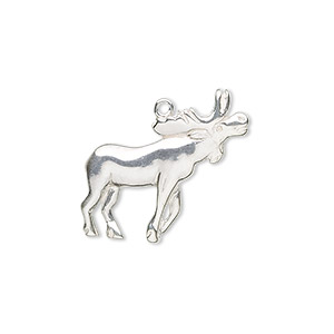 Charm, Sterling Silver, 22x18mm Moose. Sold Individually