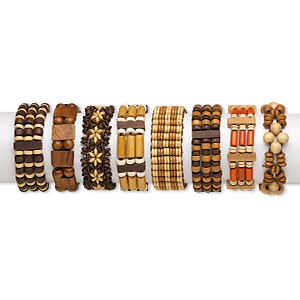 Bracelet, 3-strand Stretch, Wood, Assorted Colors, Assorted Size Shape, 7-1/2 Inches. Sold Per Pkg 8