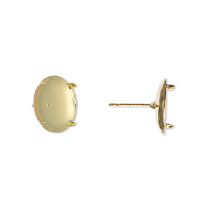 Earstud, Gold-plated Steel Stainless Steel, 13mm Round Flat Pad 12mm 4-prong Round Setting. Sold Per Pkg 50 Pairs