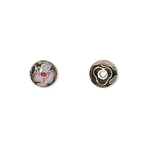 Bead, Cloisonné, Enamel Gold-finished Copper, Multicolored, 8mm Round Flower Design. Sold Per Pkg 10