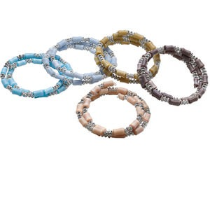 Bracelet Mix, Cat's Eye Glass / Steel Memory Wire / Silver-coated Plastic, Mixed Colors, 16mm Wide, 7 Inches. Sold Per Pkg 5 1150SK