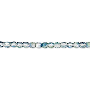 Bead, Czech Fire-polished Glass, Green Teal Luster, 3mm Faceted Round. Sold Per 16-inch Strand 152-19001-00-3mm-00030-91007