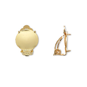 Earring, Clip-on, Gold-plated Brass Steel, 13mm Round Flat Pad 12mm 4-prong Round Setting. Sold Per Pkg 10 Pairs