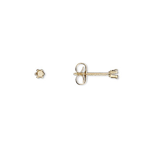 Earstud, Snap-Tite®, 14Kt Gold-filled, 2mm 6-prong Round Setting. Sold Per Pkg 2 Pairs X2405GP50YP