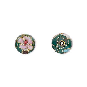 Bead, Cloisonné, Enamel Gold-finished Copper, Green / Pink / Red, 10mm Round Flower Design. Sold Per Pkg 10