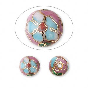 Bead, Cloisonné, Enamel Gold-finished Copper, Multicolored, 10mm Round Flower Design. Sold Per Pkg 10