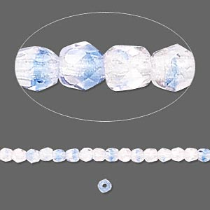 Bead, Czech Fire-polished Glass, Blue Pink, 3mm Faceted Round. Sold Per 16-inch Strand 152-19001-00-3mm-37701