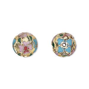 Bead, Cloisonné, Enamel Gold-finished Copper, Multicolored, 12mm Round Flower Design. Sold Per Pkg 10