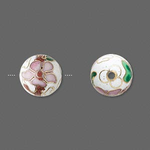 Bead, Cloisonné, Enamel Gold-finished Copper, Multicolored, 12mm Round Flower Design. Sold Per Pkg 10