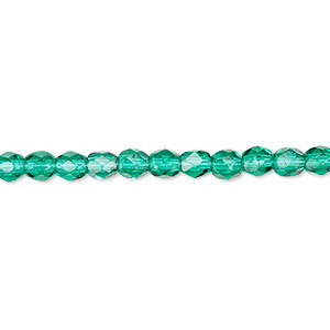 Bead, Czech Fire-polished Glass, Teal, 4mm Faceted Round. Sold Per 16-inch Strand, Approximately 100 Beads 152-19001-00-4mm-50720