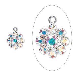 Drop, Swarovski® Crystals Silver-plated Brass, Crystal Passions®, Crystal AB, 10x10mm Flower, PP18/32. Sold Per Pkg 2 60881