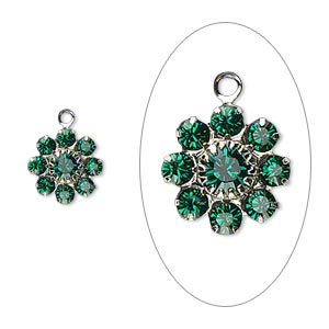 Drop, Swarovski® Crystals Silver-plated Brass, Crystal Passions®, Emerald, 10x10mm Flower, PP18/32. Sold Per Pkg 2 60881