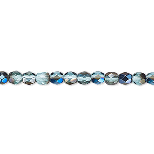 Bead, Czech Fire-polished Glass, Teal Blue Iris, 4mm Faceted Round. Sold Per 16-inch Strand 152-19001-00-4mm-60010-22201