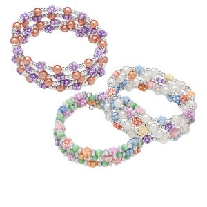 Bracelet Mix, Acrylic Steel Memory Wire, Mixed Colors, 3mm Round / 6mm Round / 6x6mm Flower, 1-3/5 Inch Inside Diameter. Sold Per Pkg 3 1204JU