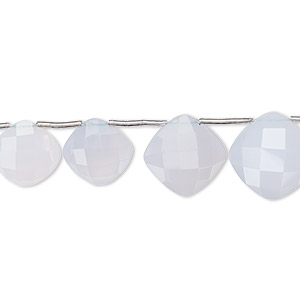 Bead, Blue Chalcedony (natural), 9-13mm Graduated Hand-cut Top-drilled Faceted Puffed Diamond 0.4mm-1.4mm Hole, B Grade, Mohs Hardness 6-1/2 7. Sold Per Pkg 11 Beads
