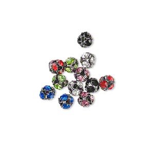 Bead, Glass Rhinestone Gunmetal-plated Brass, Assorted Colors, 4.5mm Round. Sold Per Pkg 12