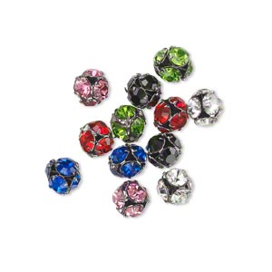 Bead, Glass Rhinestone Gunmetal-plated Brass, Assorted Colors, 5.5mm Round. Sold Per Pkg 12