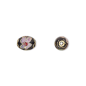 Bead, Cloisonné, Enamel Gold-finished Copper, Black / Pink / Red, 9x7mm Oval Flower Design. Sold Per Pkg 10