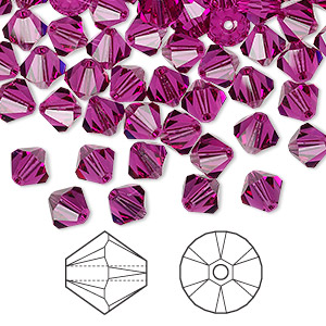 Bead, Swarovski® Crystals, Fuchsia, 6mm Xilion Bicone (5328). Sold Per Pkg 144 (1 Gross) 5328