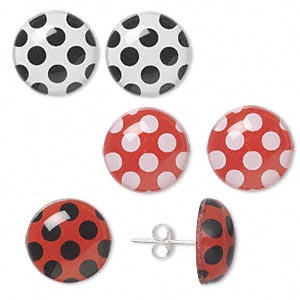 Earstud, Sterling Silver Acrylic, Red / White / Black, 13mm Round Dots. Sold Per Pkg 3 Pairs 1220JC