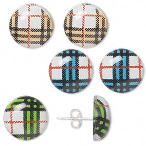 Earstud, Sterling Silver Acrylic, Multicolored, 13mm Round Plaid Pattern. Sold Per Pkg 3 Pairs 1221JC
