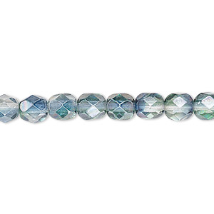 Bead, Czech Fire-polished Glass, Translucent Green Teal Luster, 6mm Faceted Round. Sold Per 16-inch Strand 152-19001-00-6mm-00030-91007