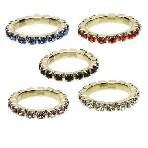 Ring Mix, Stretch, Glass Rhinestone Gold-finished Brass, Mixed Colors, 2.5mm Faceted Round. Sold Per Pkg 5 1228AS