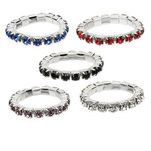 Ring Mix, Stretch, Glass Rhinestone Silver-plated Brass, Mixed Colors, 2.5mm Faceted Round. Sold Per Pkg 5 1229AS